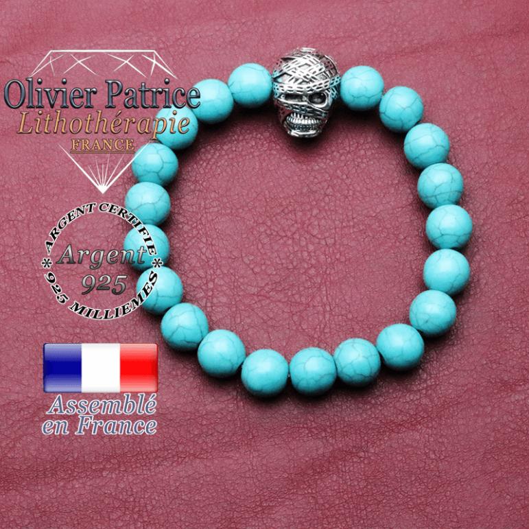 bracelet homme en turquoise  pierre naturelle en 10 mm