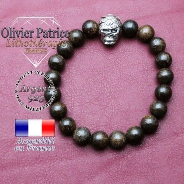 bracelet homme en bronzite pierre naturelle en 10 mm
