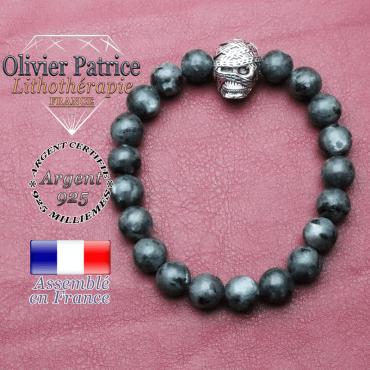 bracelet homme en larvikite pierre naturelle en 10 mm