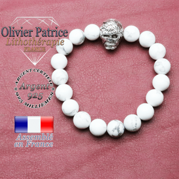 bracelet homme en howlite pierre naturelle en 10 mm