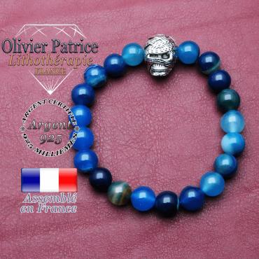 bracelet homme en agate bleu pierre naturelle en 10 mm