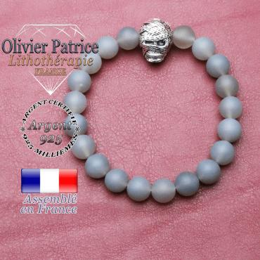 bracelet homme en agate- grise opaque pierre naturelle en 10 mm