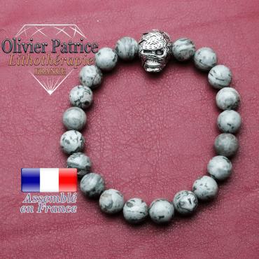 bracelet homme en jaspe crazy lace gris pierre naturelle en 10 mm