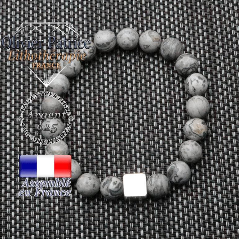 bracelet homme en pierre naturelle jaspe crazy lace gris de 10mm et son cube en argent 925 de 10mm