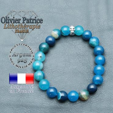 bracelet homme en pierre naturelle agate bleu a bande de 10mm et sa tete de mort
