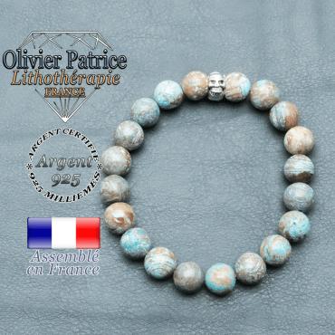 bracelet homme en pierre naturelle agate crazy lace bleu de 10mm et sa tete de mort