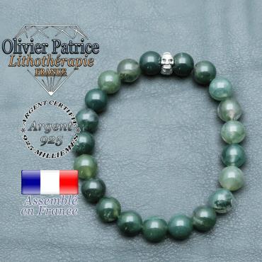 bracelet homme en pierre naturelle agate mousse de 10mm et sa tete de mort en argent 925 de 10mm