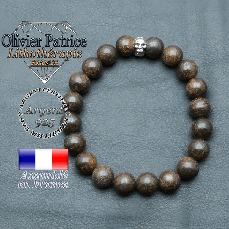 bracelet homme en pierre naturelle en bronzite de 10mm et sa tete de mort en argent 925 de 10mm
