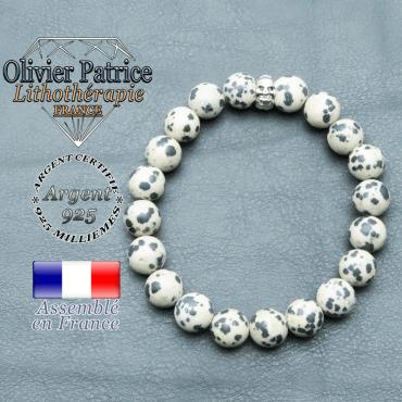 bracelet homme en pierre naturelle jaspe dalmatien de 10mm et sa tete de mort en argent 925 de 10mm