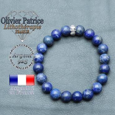 bracelet homme en pierre naturelle en lapis lazuli de 10mm et sa tete de mort en argent 925 de 10mm