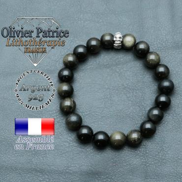 bracelet homme en pierre naturelle obsidienne doré de 10mm et sa tete de mort en argent 925 de 10mm