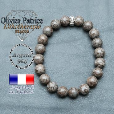 bracelet homme en pierre naturelle en obsidienne neige brun de 10mm et sa tete de mort en argent 925 de 10mm