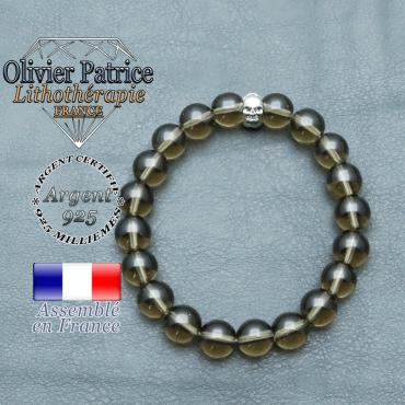 bracelet homme en pierre naturelle en quartz-fume de 10mm et sa tete de mort en argent 925 de 10mm