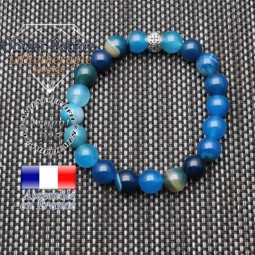 bracelet homme en pierre naturelle en agate bleu a bande de 10mm et sa boule de 10mm avec croix en argent 925