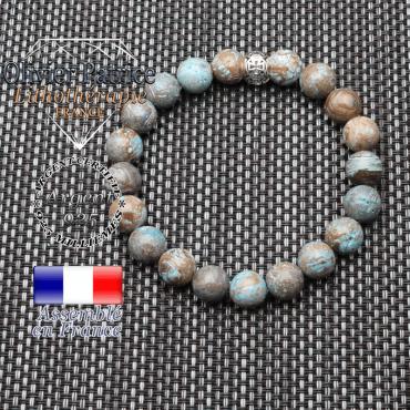 bracelet homme en pierre naturelle en agate crazy lace bleu de 10 mm et sa croix templier gravée en argent 925