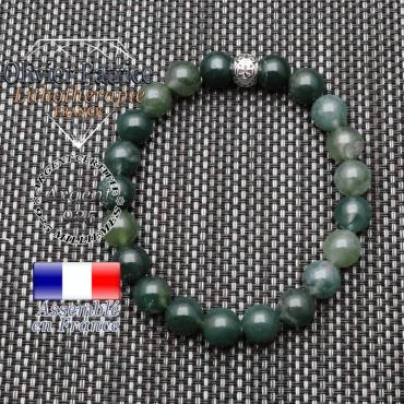 bracelet homme en pierre naturelle en agate mousse de 10mm et sa tete de mort en argent 925 de 10mm