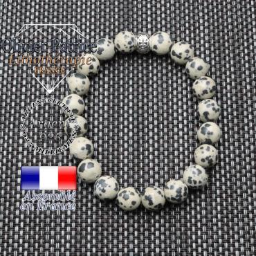 bracelet homme en pierre naturelle en jaspe dalmatien de 10mm et sa tete de mort en argent 925 de 10mm