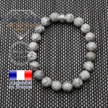bracelet homme en pierre naturelle en jaspe crazy lace gris de 10mm et sa tete de mort en argent 925 de 10mm
