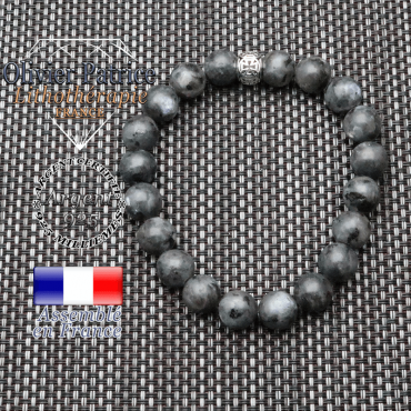 bracelet homme en pierre naturelle en larvikite de 10mm et sa tete de mort en argent 925 de 10mm