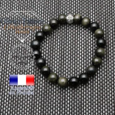 bracelet homme en pierre naturelle en obsidienne dore de 10mm et sa tete de mort en argent 925 de 10mm