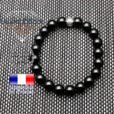 bracelet homme en pierre naturelle en obsidienne de 10mm et sa tete de mort en argent 925 de 10mm
