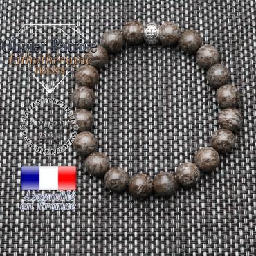 bracelet homme en pierre naturelle en obsidienne enige brun de 10mm et sa tete de mort en argent 925 de 10mm