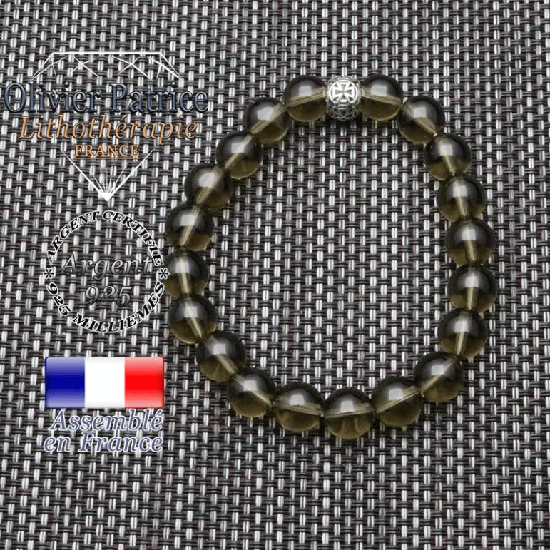 bracelet homme en pierre naturelle en quartz fume de 10mm et sa tete de mort en argent 925 de 10mm