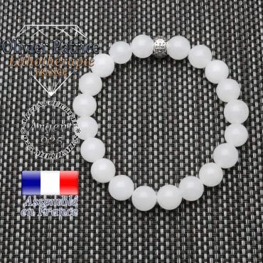 bracelet homme en pierre naturelle en pierre de lune de 10mm et sa tete de mort en argent 925 de 10mm