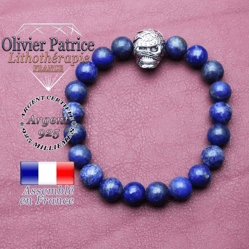 Bracelet lapis lazuli et sa tête de momie en argent 925