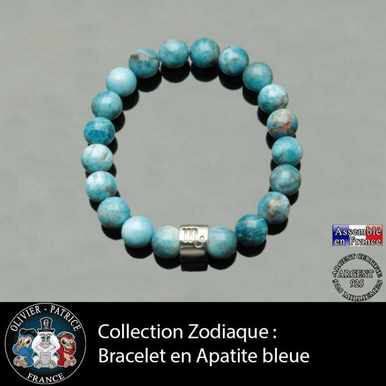 Bracelet astro en apatite bleue