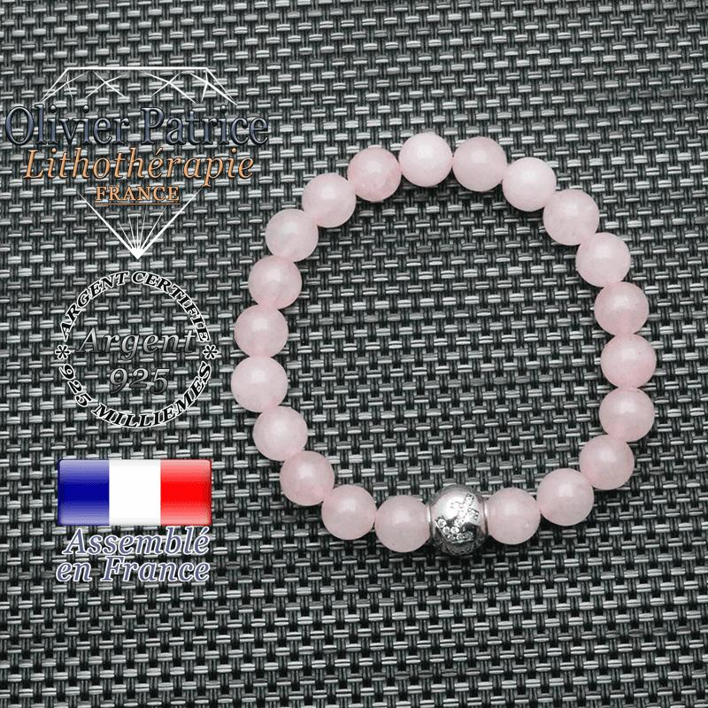 Bracelet quartz rose signe astrologique en argent 925